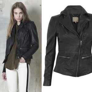 ✨ Muubaa Sirius Leather Biker Jacket Ink (Black)